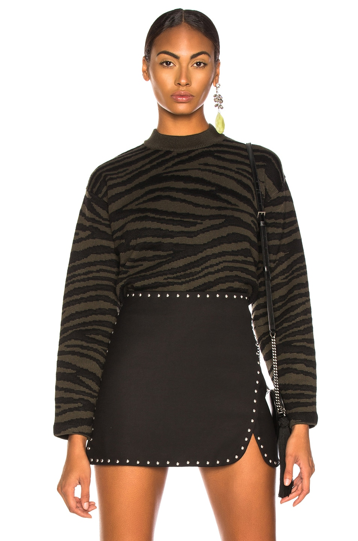 Image 1 of Proenza Schouler Tiger Jacquard Mockneck Sweater in Dark Green & Black