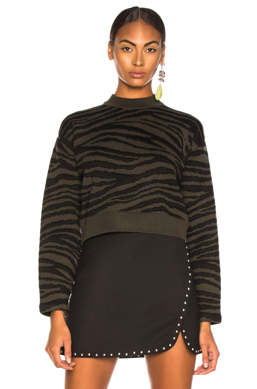 Image 2 of Proenza Schouler Tiger Jacquard Mockneck Sweater in Dark Green & Black