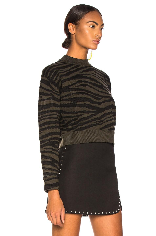 Image 3 of Proenza Schouler Tiger Jacquard Mockneck Sweater in Dark Green & Black
