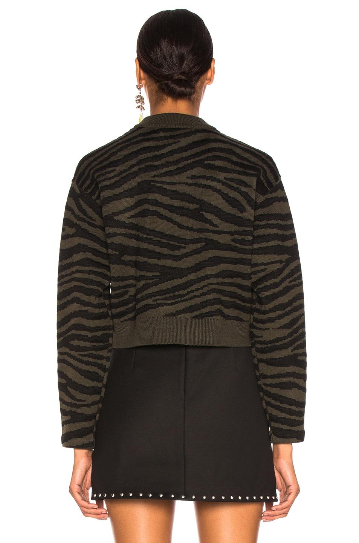 Image 4 of Proenza Schouler Tiger Jacquard Mockneck Sweater in Dark Green & Black