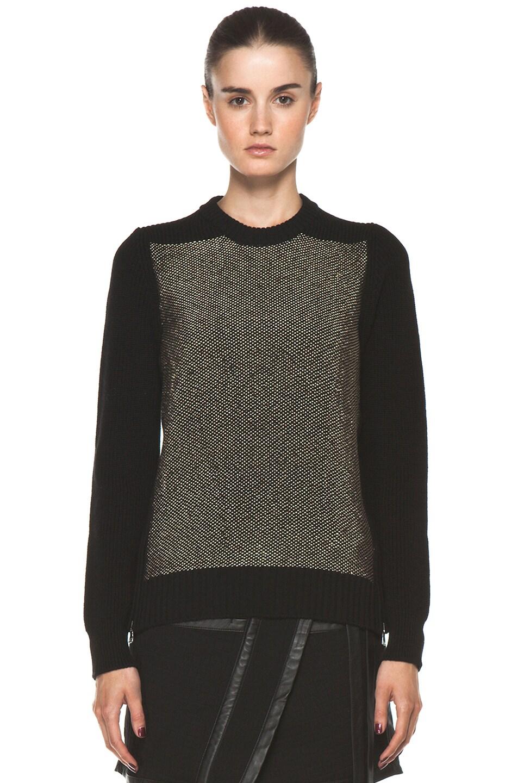 Image 1 of Proenza Schouler Crewneck Side Zip Sweater in Black
