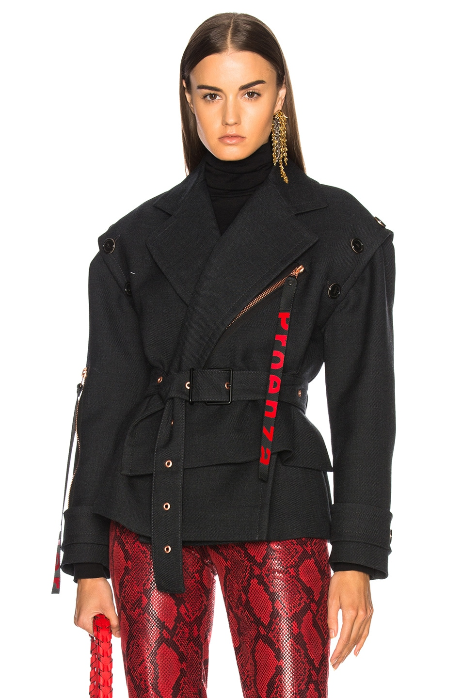Image 1 of Proenza Schouler Twill Asymmetric Waisted Short Coat in Charcoal Melange