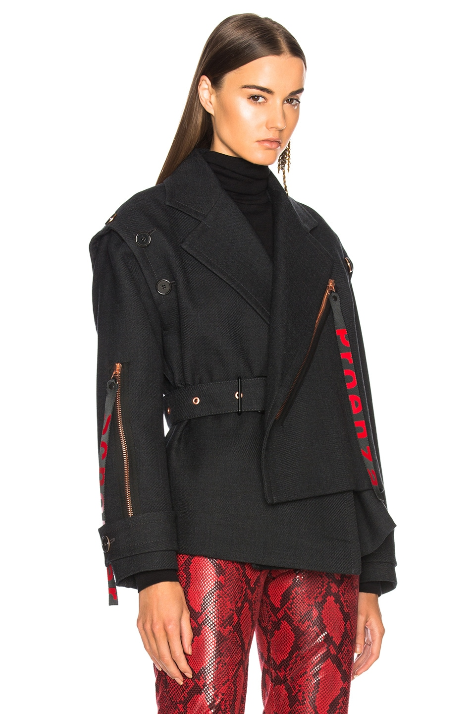Image 2 of Proenza Schouler Twill Asymmetric Waisted Short Coat in Charcoal Melange