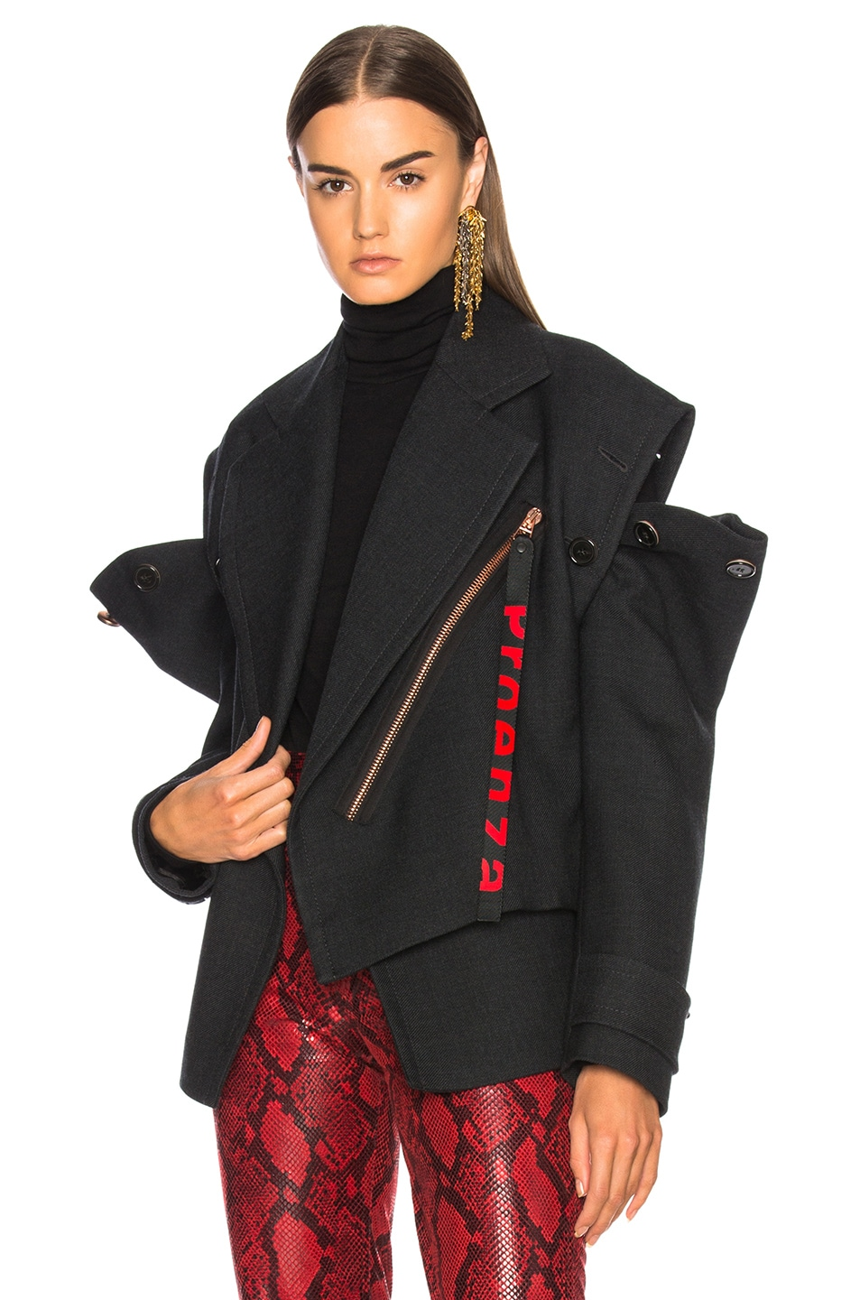 Image 3 of Proenza Schouler Twill Asymmetric Waisted Short Coat in Charcoal Melange