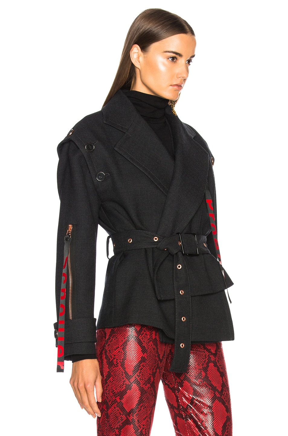 Image 4 of Proenza Schouler Twill Asymmetric Waisted Short Coat in Charcoal Melange