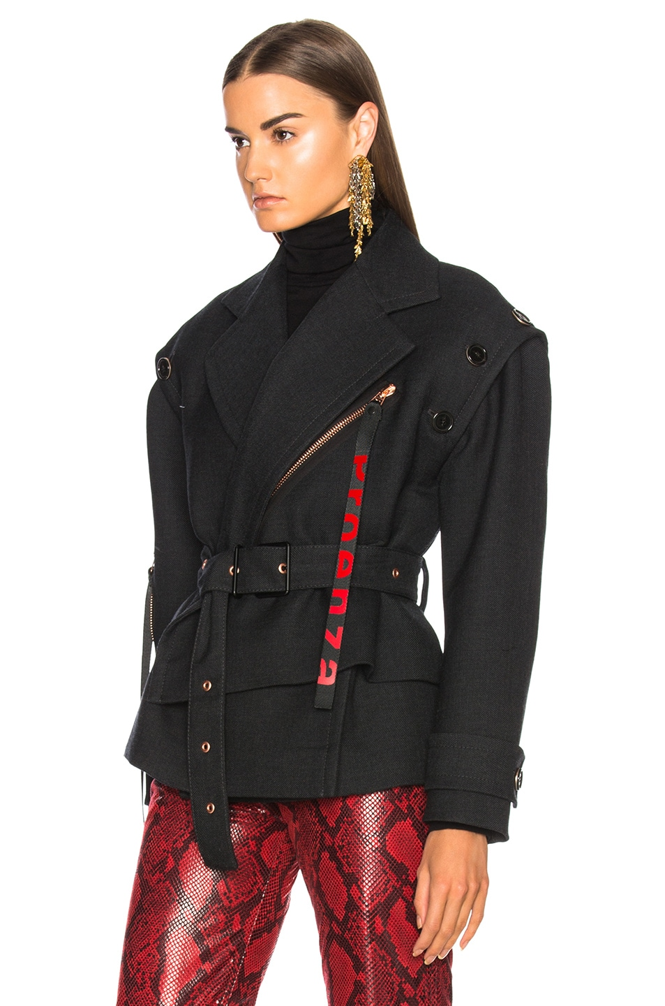 Image 5 of Proenza Schouler Twill Asymmetric Waisted Short Coat in Charcoal Melange