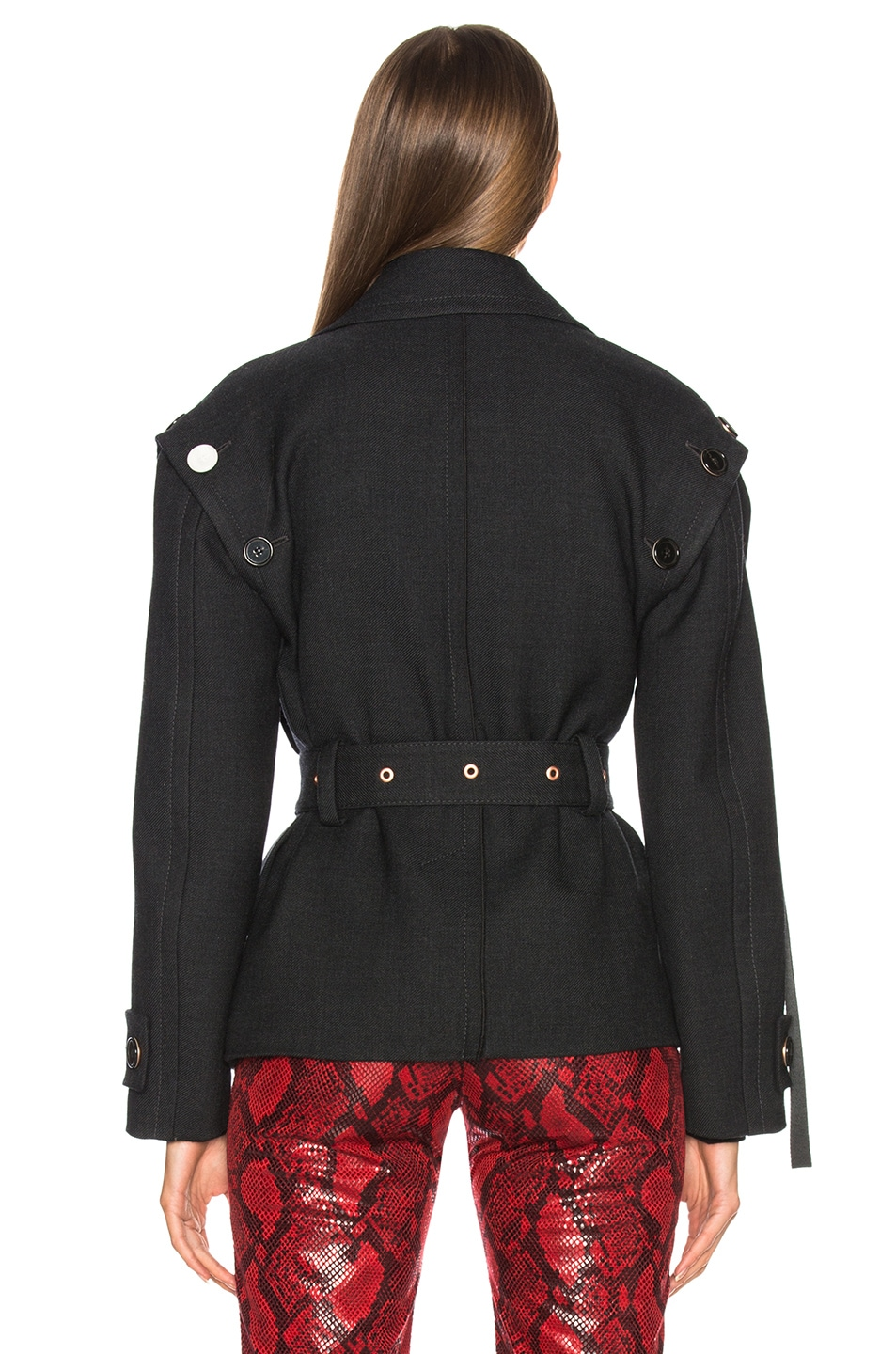 Image 6 of Proenza Schouler Twill Asymmetric Waisted Short Coat in Charcoal Melange