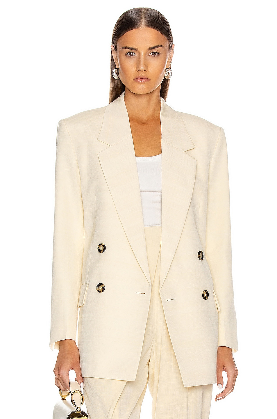 Image 1 of Proenza Schouler Knotted Lapel Blazer in Butter Melange