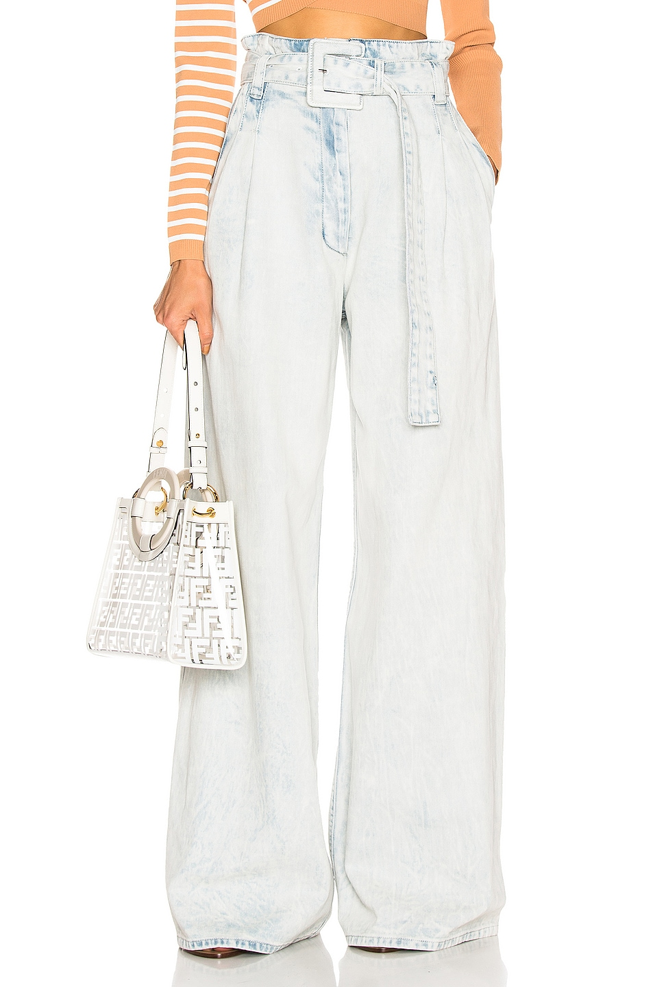 Image 1 of Proenza Schouler Belted Pant in Bleached Acid
