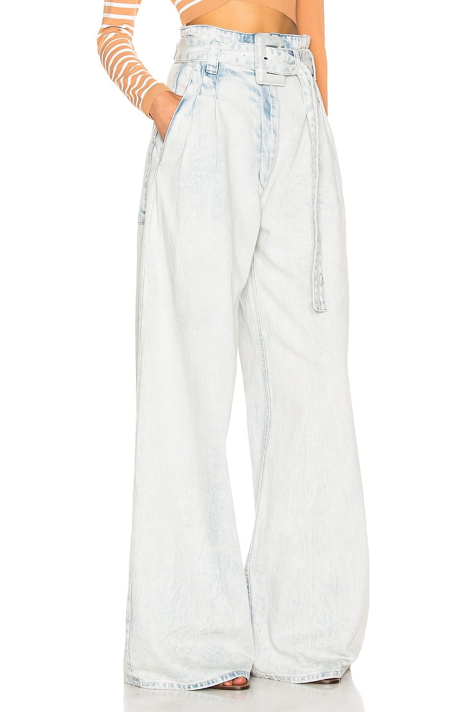 Image 2 of Proenza Schouler Belted Pant in Bleached Acid