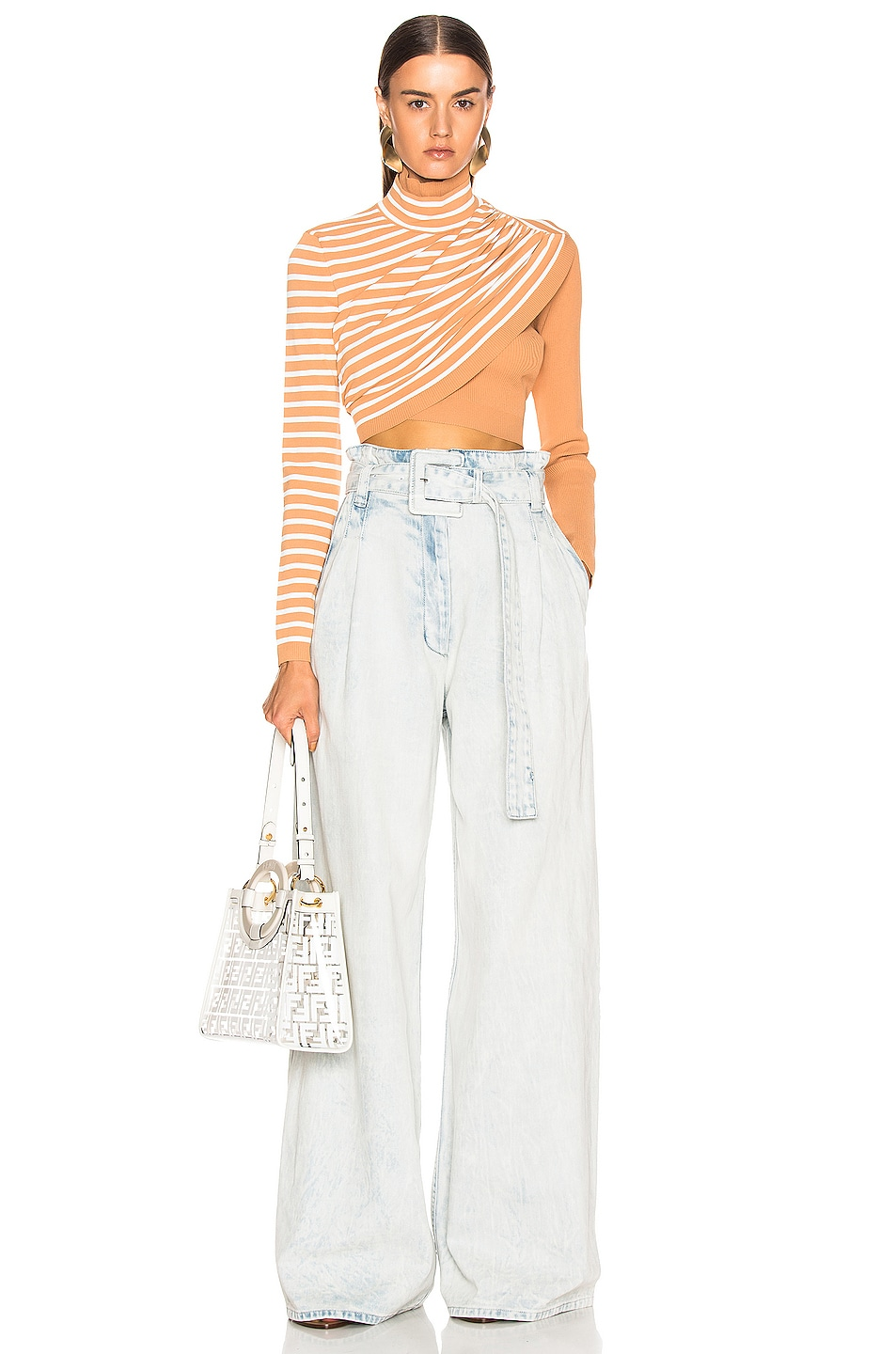 Image 4 of Proenza Schouler Belted Pant in Bleached Acid