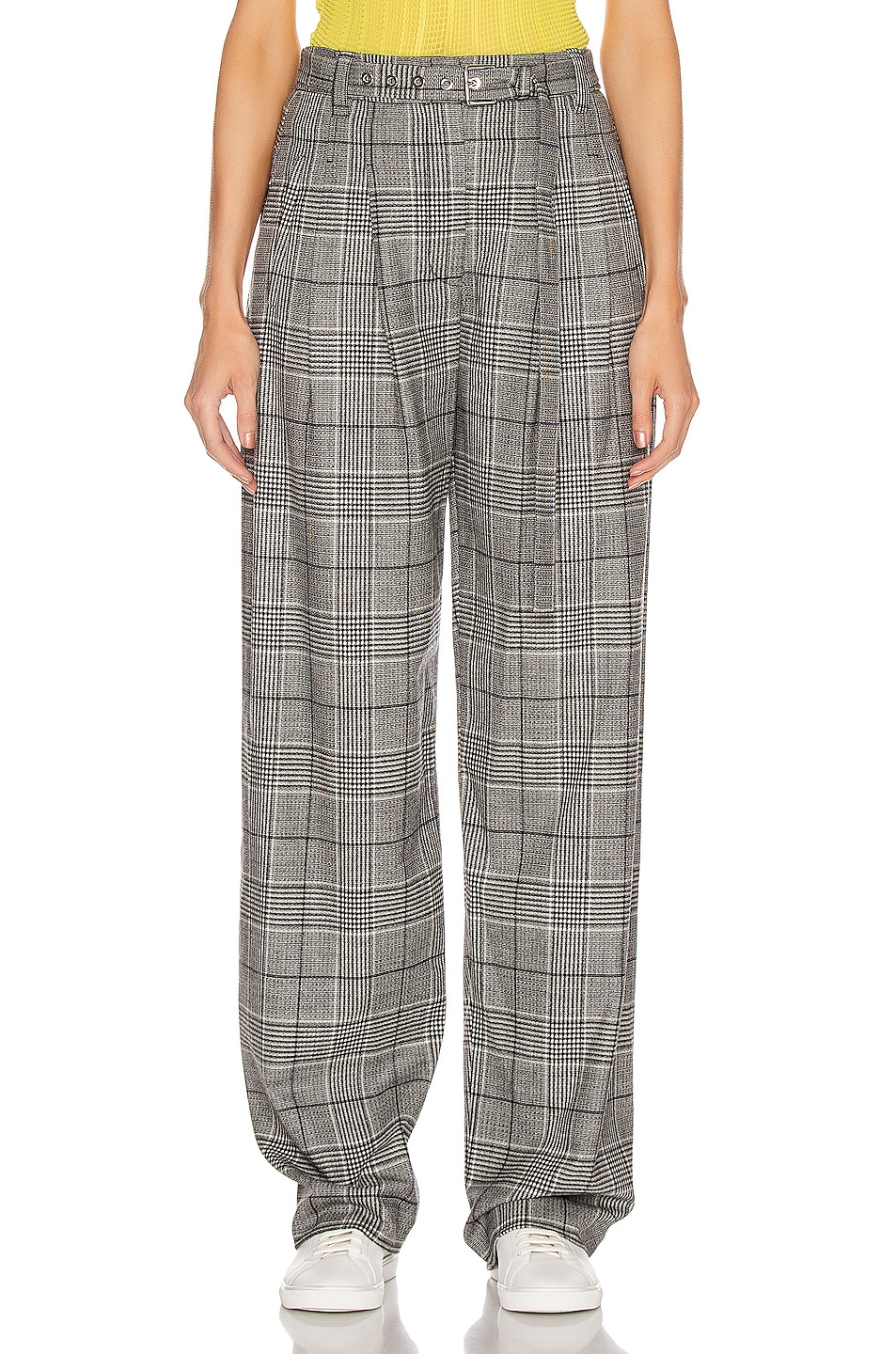 Image 1 of Proenza Schouler Plaid Exaggerated Plaid Pant in Black & White