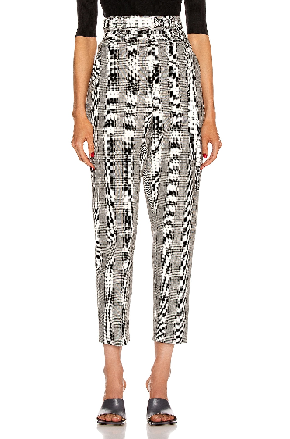 Image 1 of Proenza Schouler Belted Pant in Black & Off White Glen Plaid