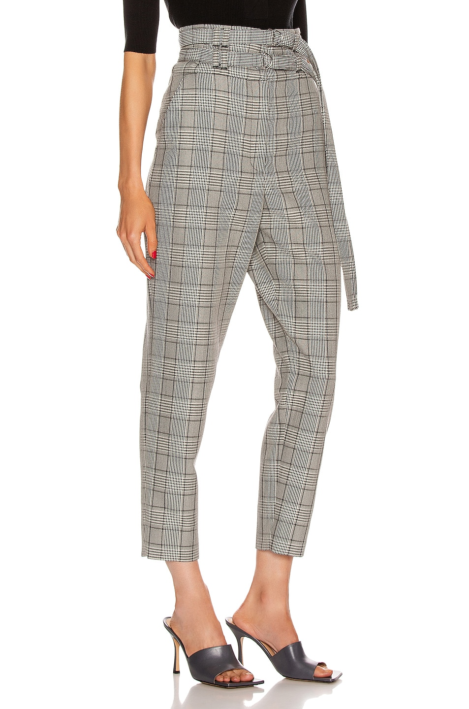 Image 2 of Proenza Schouler Belted Pant in Black & Off White Glen Plaid