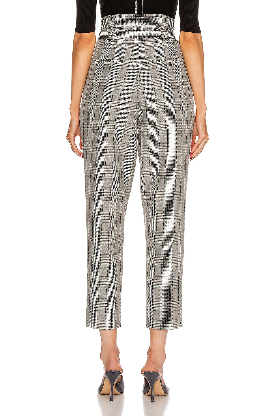 Image 3 of Proenza Schouler Belted Pant in Black & Off White Glen Plaid