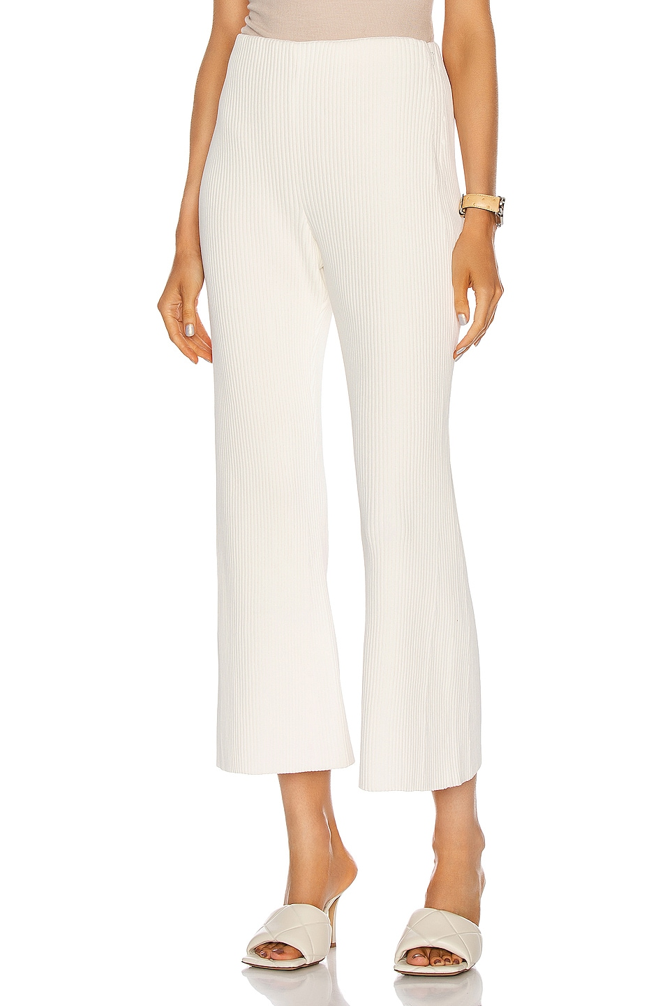Image 1 of Proenza Schouler Chunky Rib Crop Flare Pant in Off White