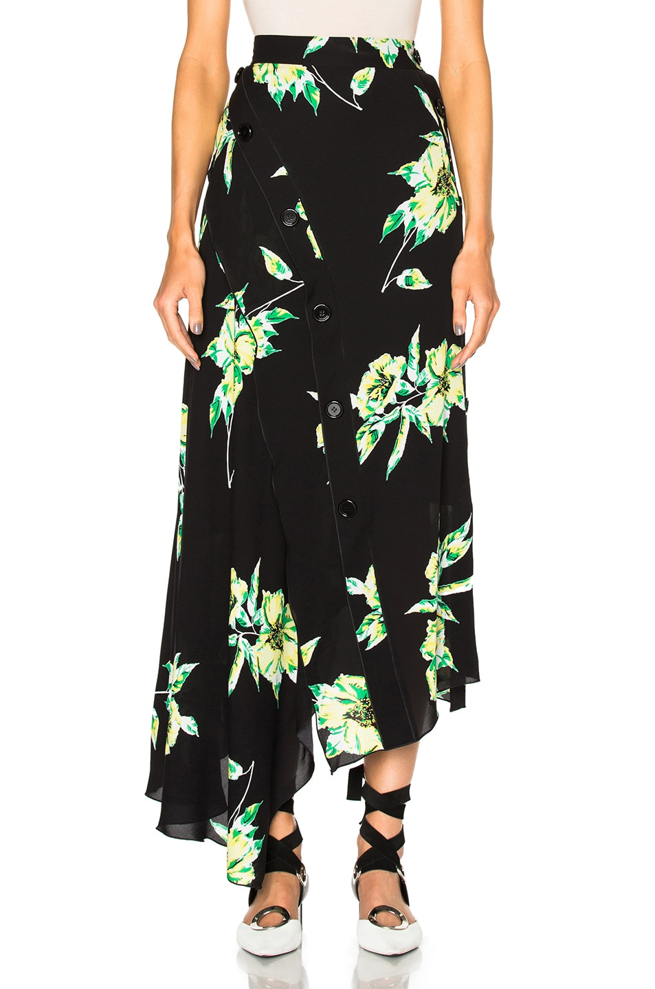 Image 1 of Proenza Schouler Printed Crepe Georgette Asymmetric Skirt in Black & Green Lilly Print
