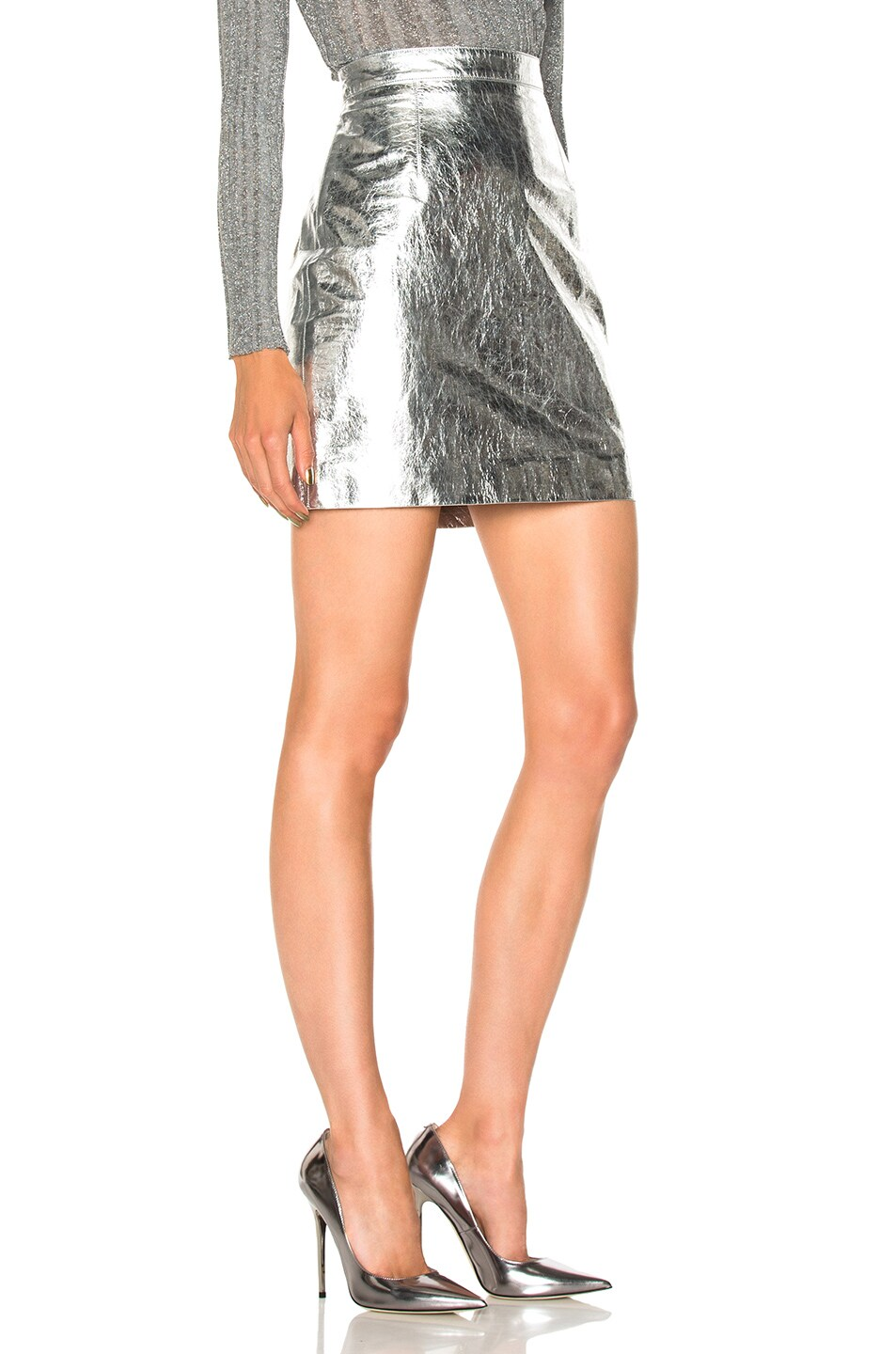 Image 2 of Proenza Schouler Lightweight Metallic Leather Mini Skirt in Silver