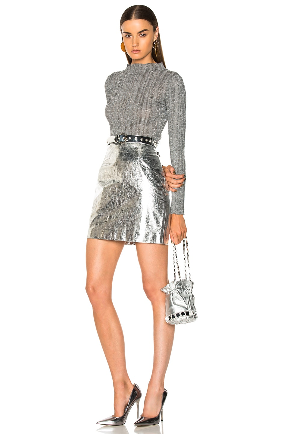 Image 4 of Proenza Schouler Lightweight Metallic Leather Mini Skirt in Silver