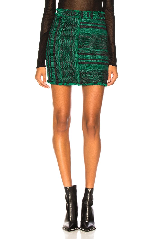 Image 1 of Proenza Schouler Tweed Mini Skirt in Black & Malachite