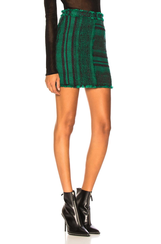 Image 2 of Proenza Schouler Tweed Mini Skirt in Black & Malachite