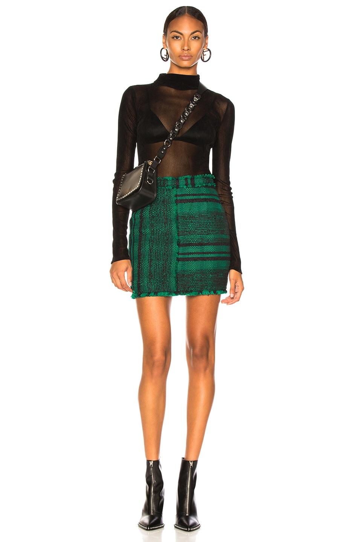 Image 5 of Proenza Schouler Tweed Mini Skirt in Black & Malachite