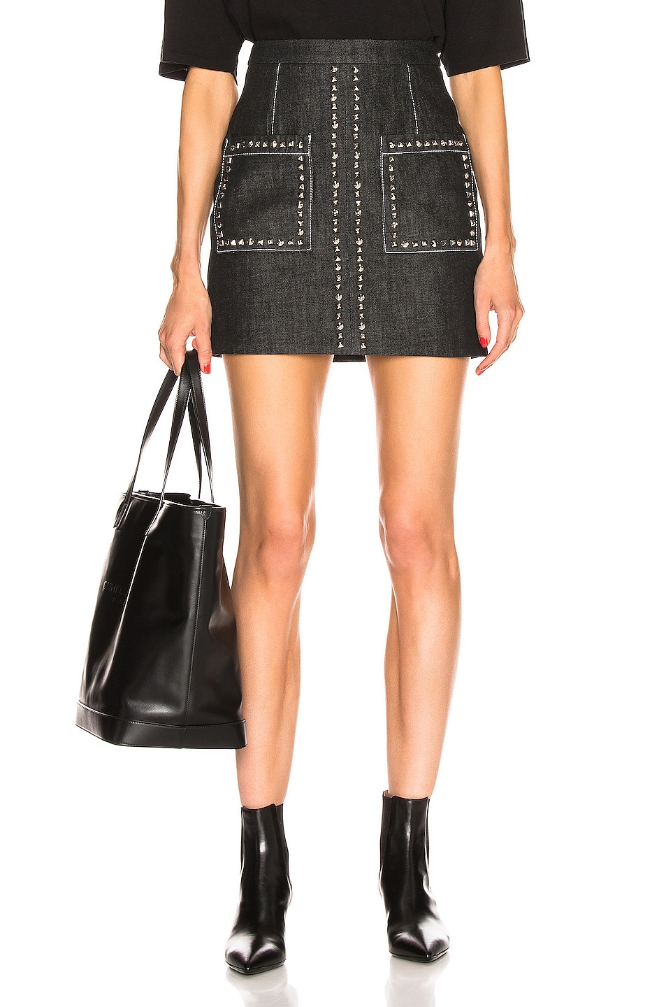 Image 1 of Proenza Schouler Stud Embroidery Mini Skirt in Black & Silver