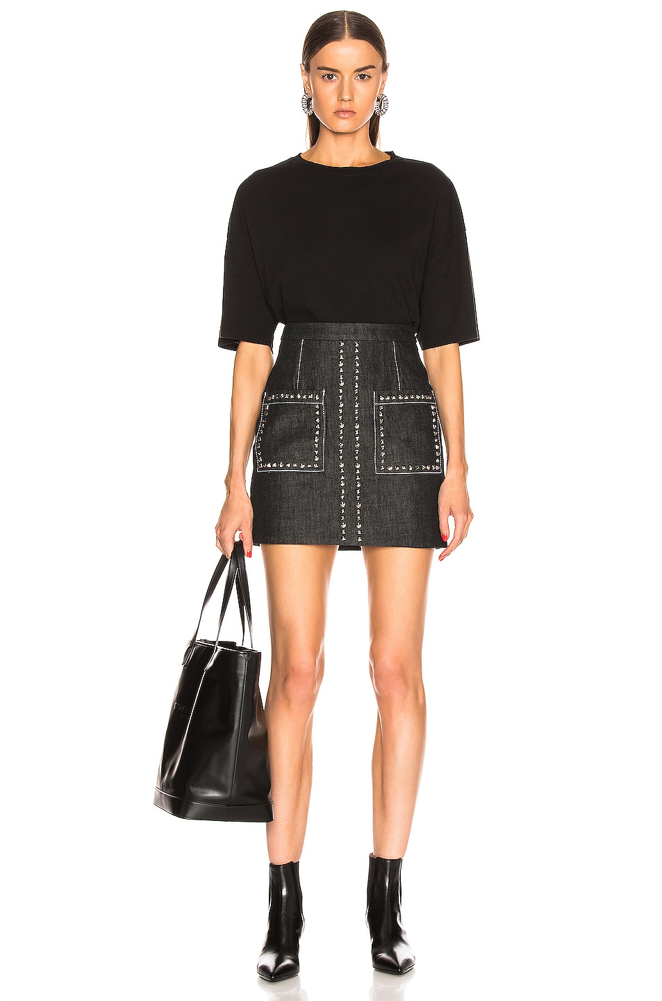 Image 4 of Proenza Schouler Stud Embroidery Mini Skirt in Black & Silver