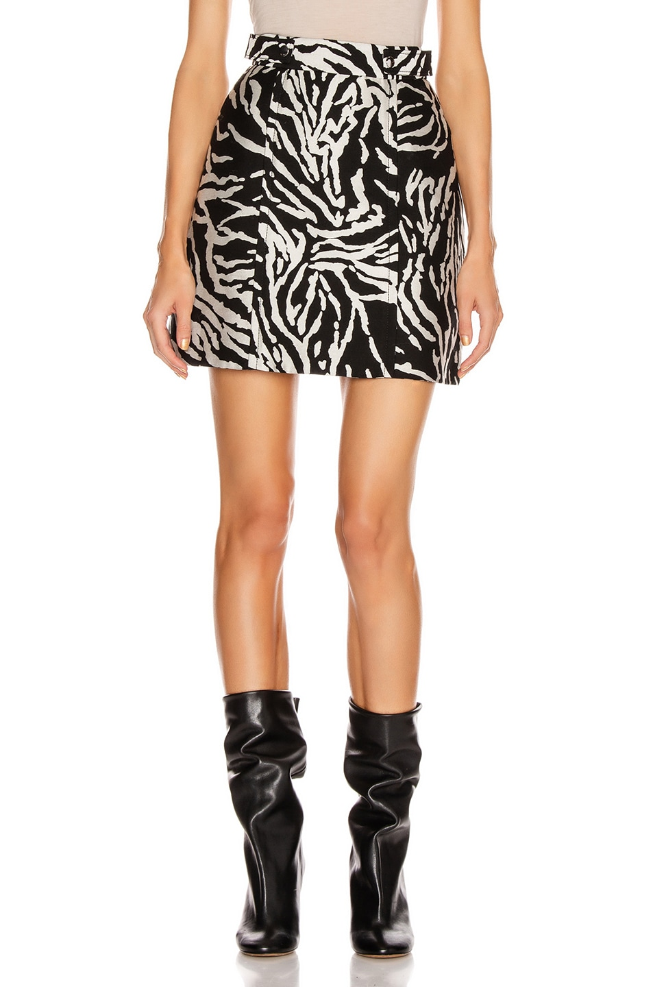 Image 1 of Proenza Schouler Short A-Line Skirt in Black & White