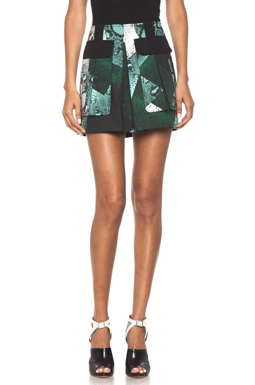Image 1 of Proenza Schouler Snake Print Pocket Skirt in Aqua