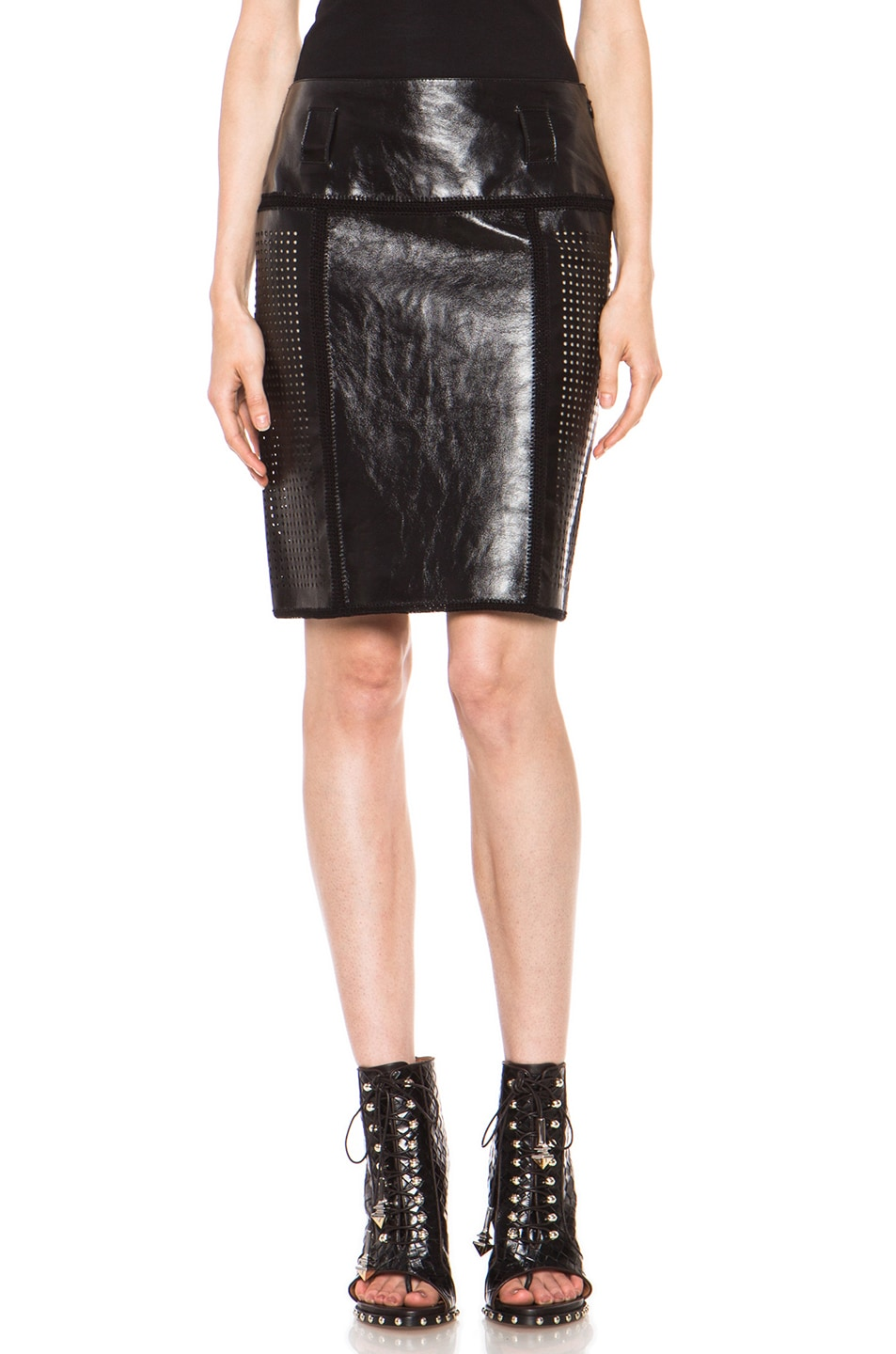 Image 1 of Proenza Schouler Plastic Leather Crochet Straight Skirt in Black
