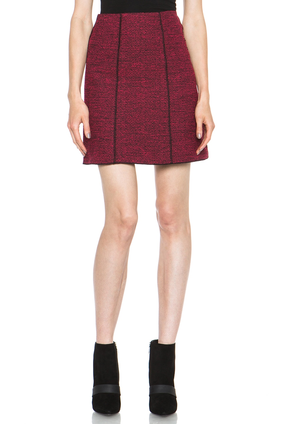 Image 1 of Proenza Schouler Melange Tweed Mini Skirt in Electric Pink