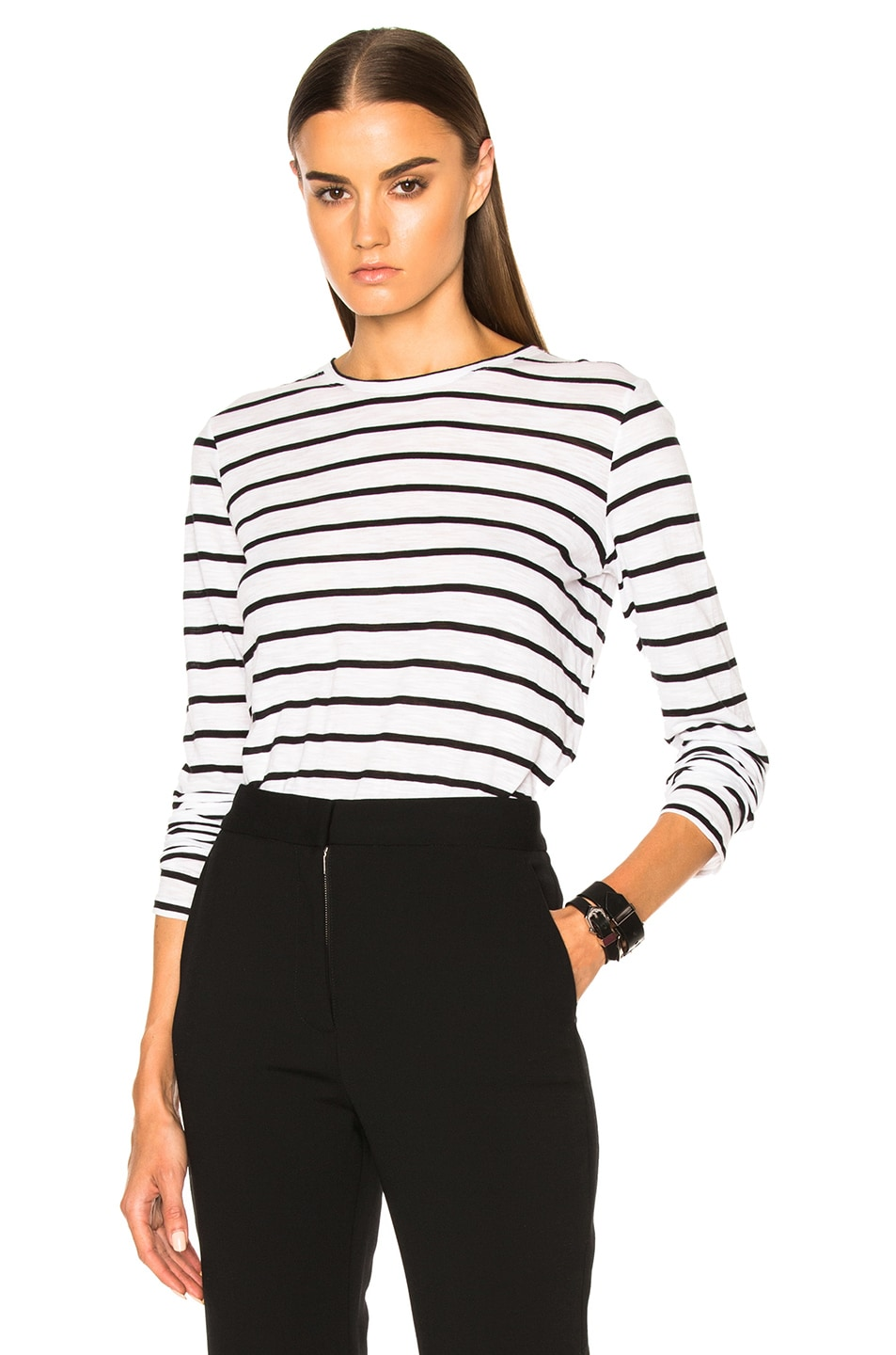 Image 1 of Proenza Schouler Tissue Jersey Long Sleeve Tee in Black & White Stripe