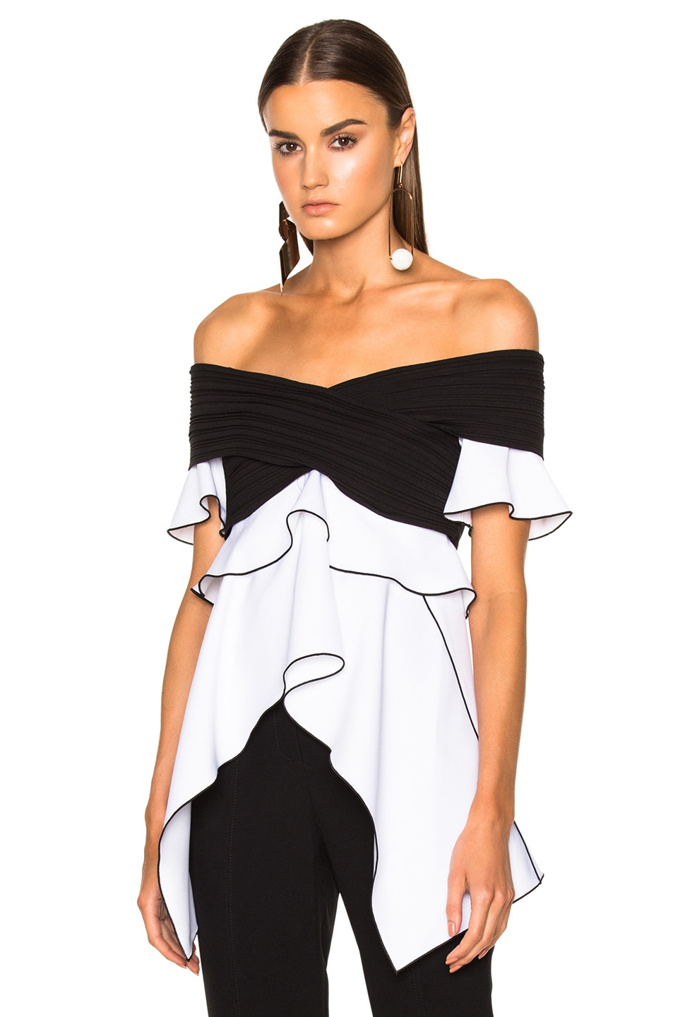 886a27fb5d2bb Image 1 of Proenza Schouler Pleated Crepe Off the Shoulder Top in Black    Optic White