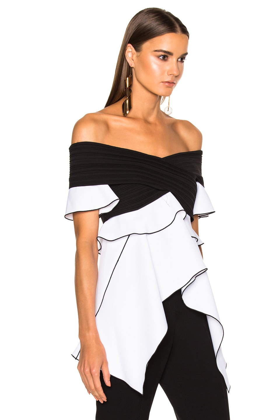 dce51e364b10a Image 3 of Proenza Schouler Pleated Crepe Off the Shoulder Top in Black    Optic White