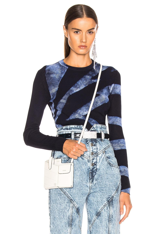 Image 1 of Proenza Schouler Tie Dye Rib Long Sleeve Top in Dark Indigo & White