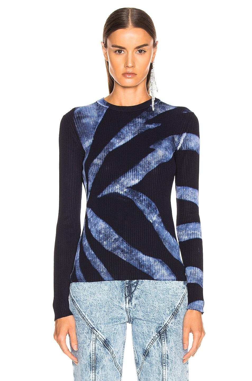 Image 2 of Proenza Schouler Tie Dye Rib Long Sleeve Top in Dark Indigo & White