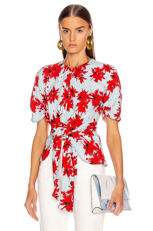 Image 1 of Proenza Schouler Splatter Floral Tie Top in Red & Baby Blue