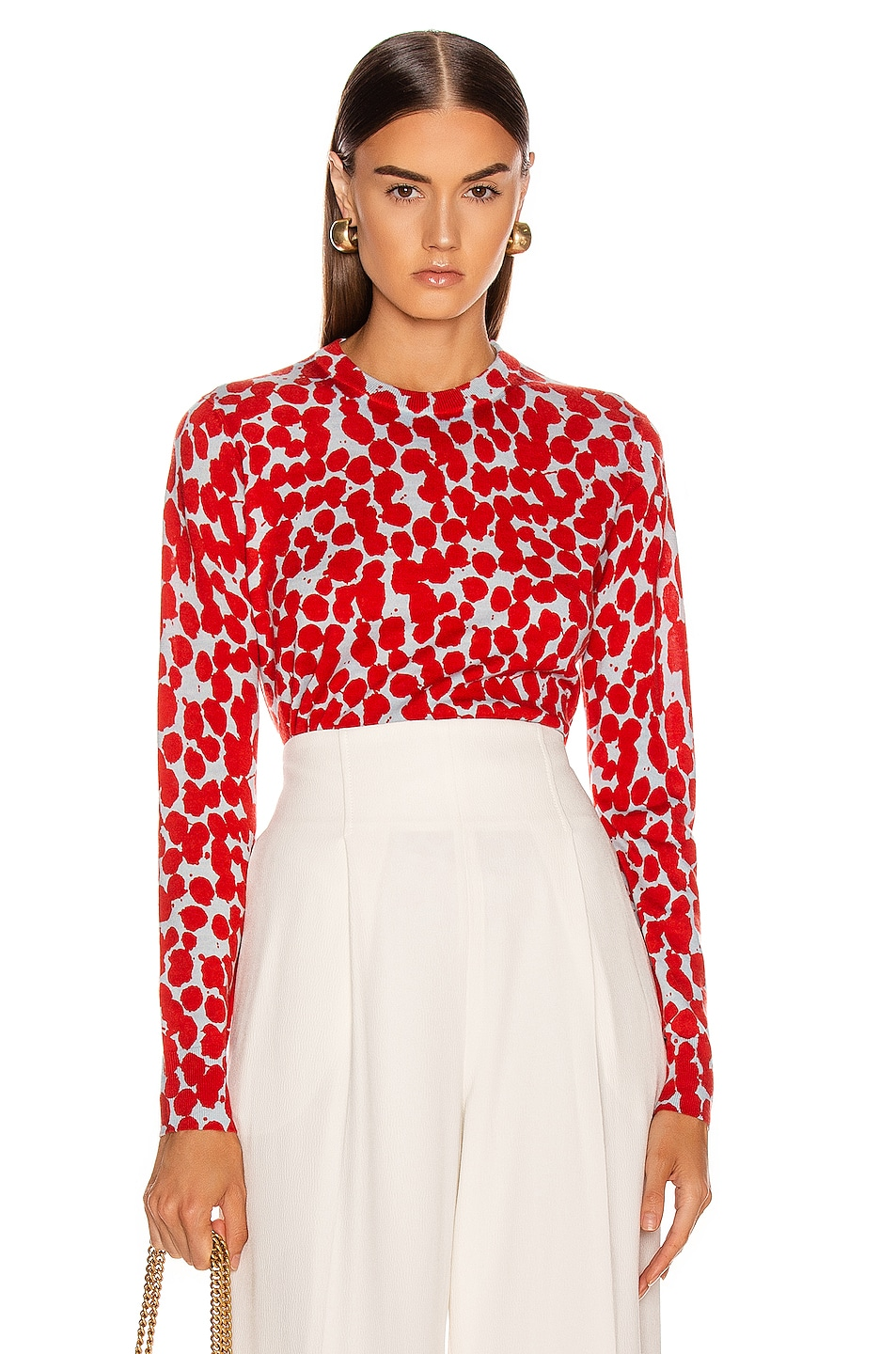 Image 1 of Proenza Schouler Long Sleeve Printed Spots Top in Light Blue & Red
