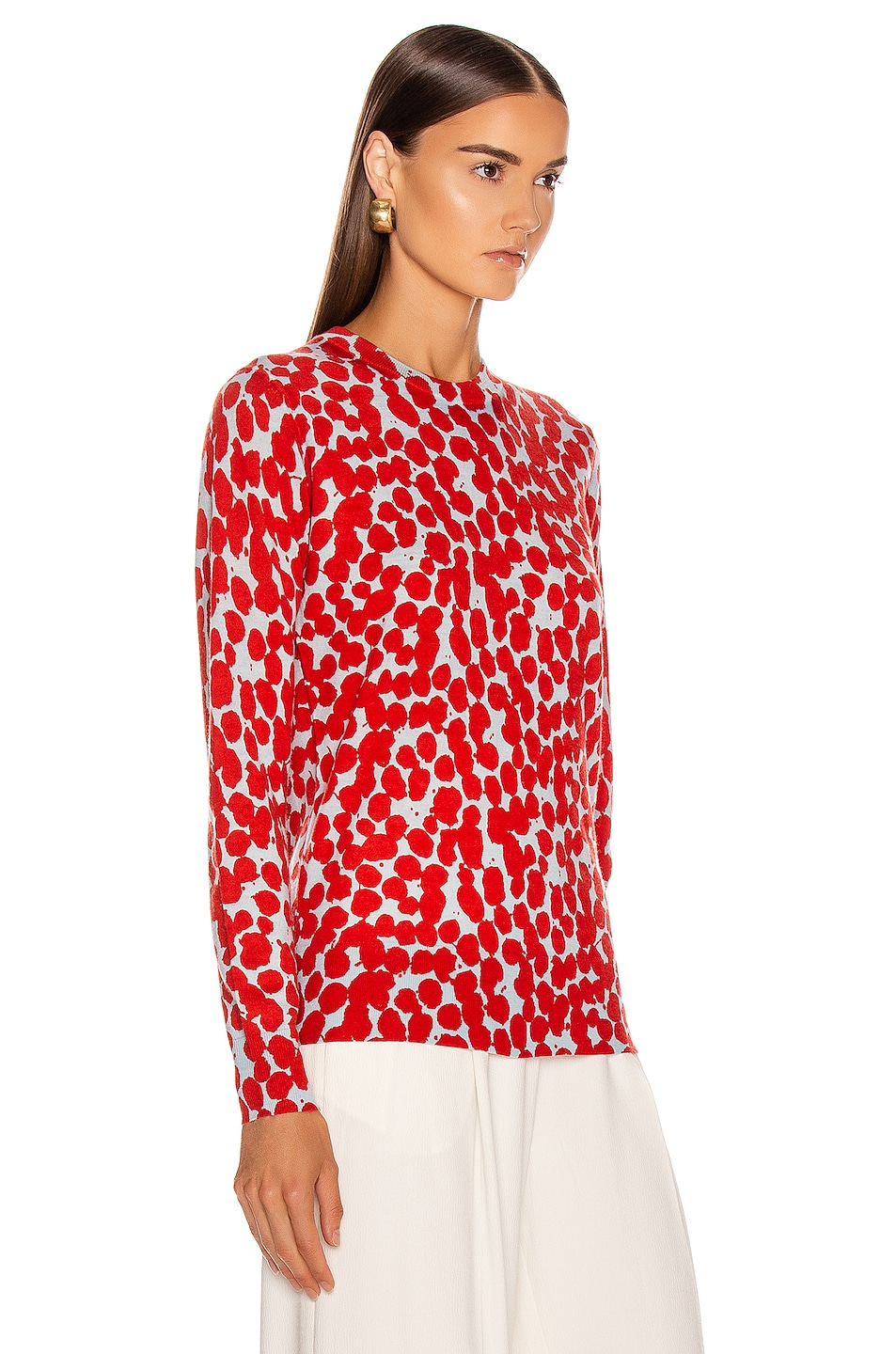 Image 2 of Proenza Schouler Long Sleeve Printed Spots Top in Light Blue & Red