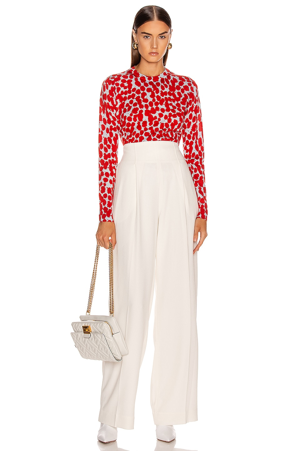 Image 4 of Proenza Schouler Long Sleeve Printed Spots Top in Light Blue & Red
