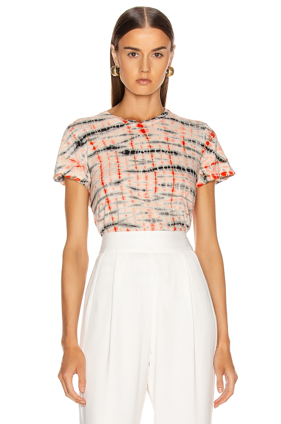 Image 1 of Proenza Schouler Tie Dye T Shirt in Peach & Orange