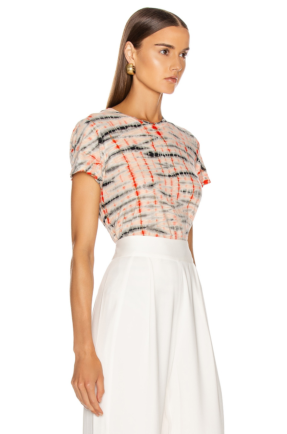 Image 2 of Proenza Schouler Tie Dye T Shirt in Peach & Orange