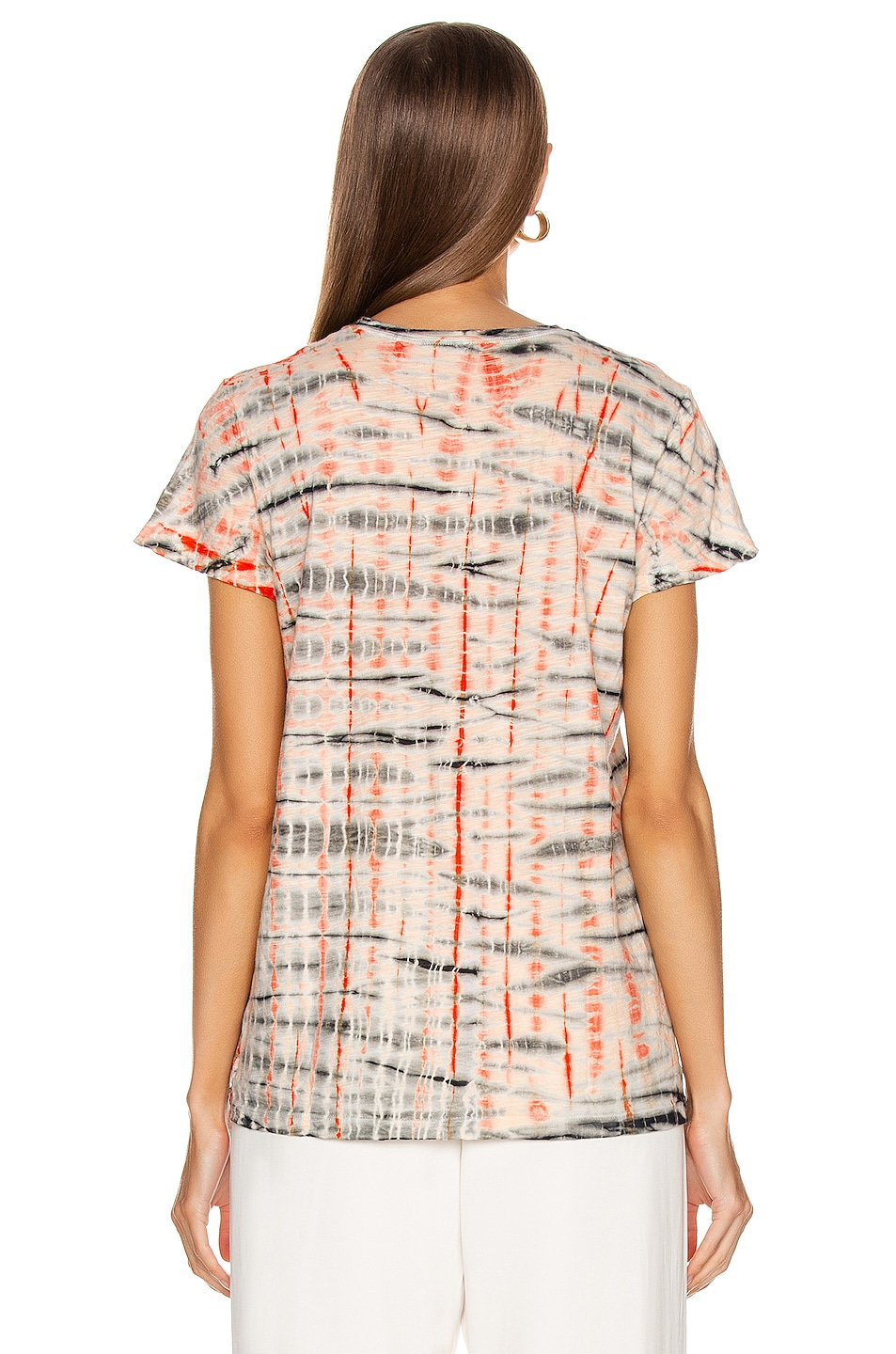 Image 3 of Proenza Schouler Tie Dye T Shirt in Peach & Orange