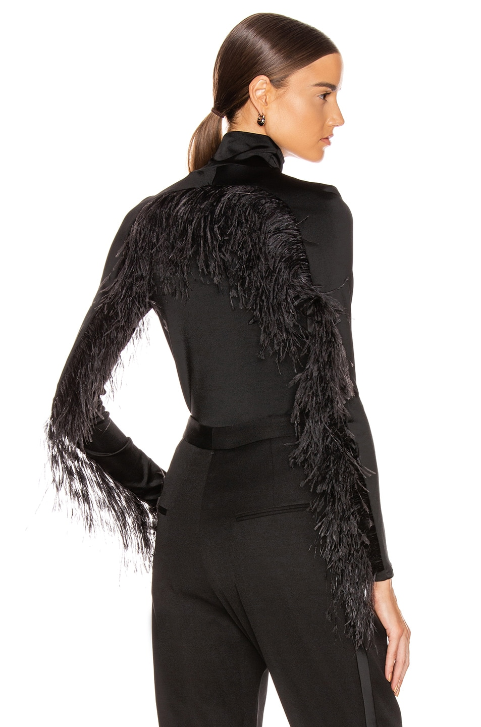 Image 1 of Proenza Schouler Long Sleeve Feathers Top in Black