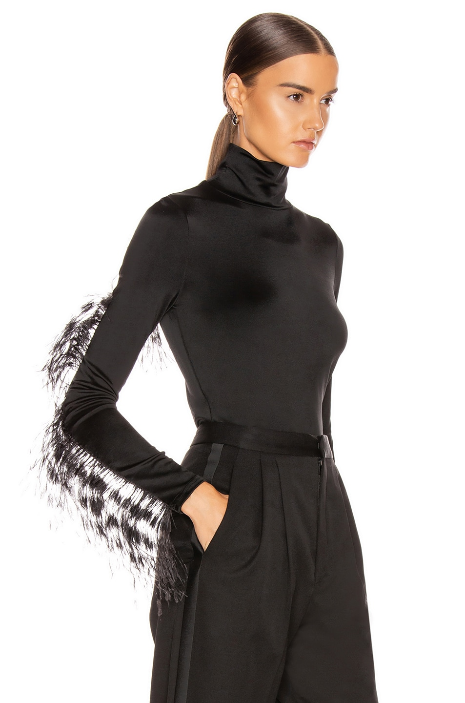 Image 3 of Proenza Schouler Long Sleeve Feathers Top in Black