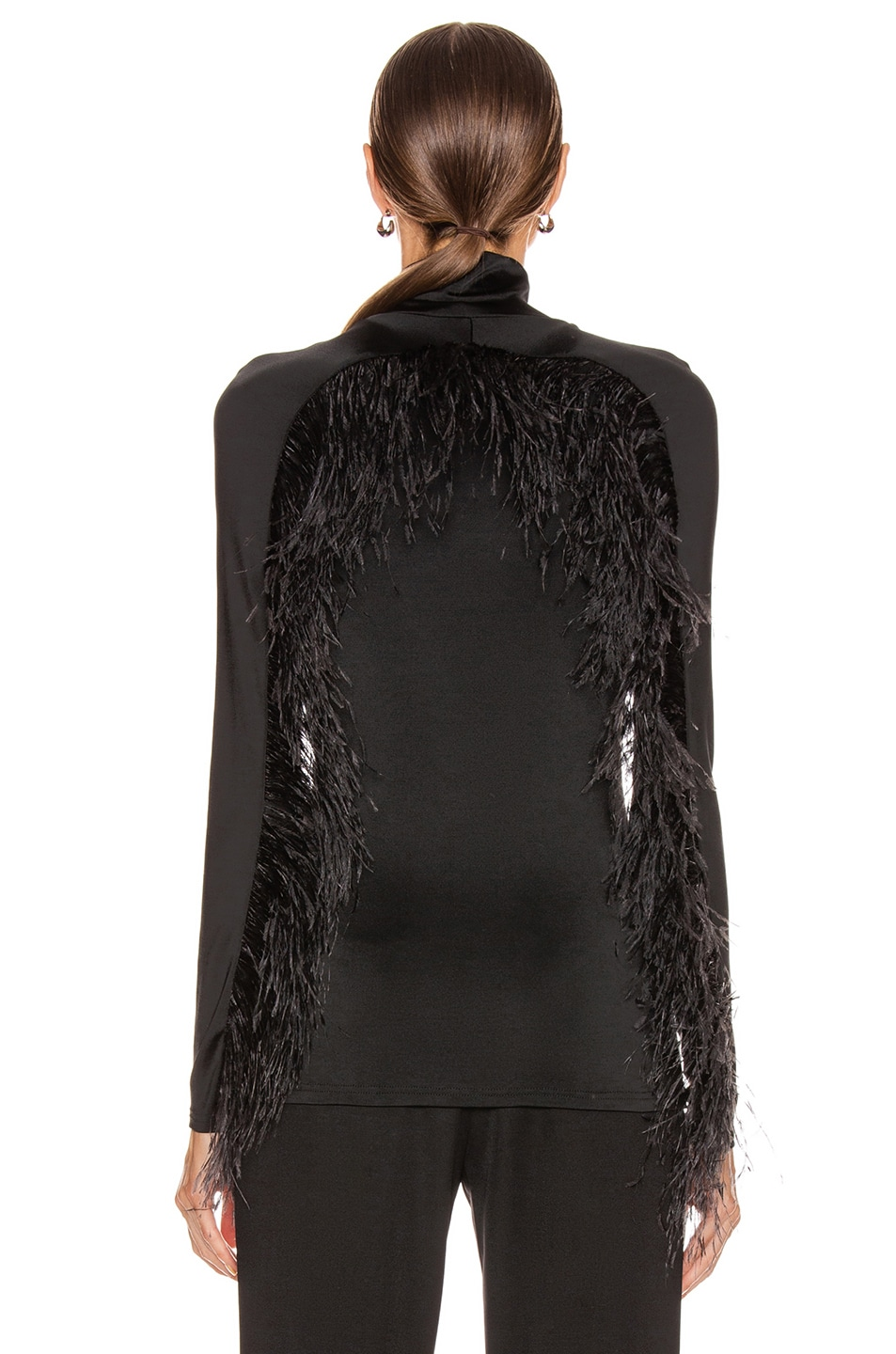 Image 4 of Proenza Schouler Long Sleeve Feathers Top in Black