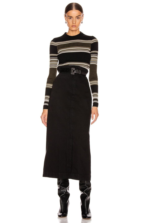 Image 4 of Proenza Schouler Long Sleeve Crew Neck Top in Black & Khaki