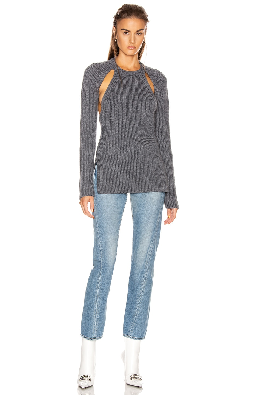 Image 5 of Proenza Schouler Ribbed Backless Top in Medium Grey Melange