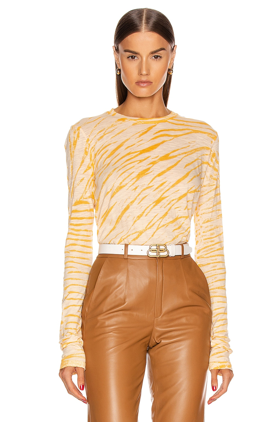 Image 1 of Proenza Schouler Long Sleeve Tie Dye Tee in Peach & Apricot Diagonal